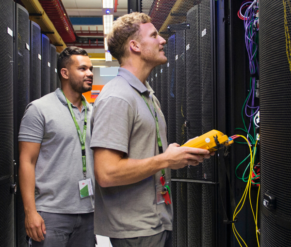Men checking the SD-WAN connection