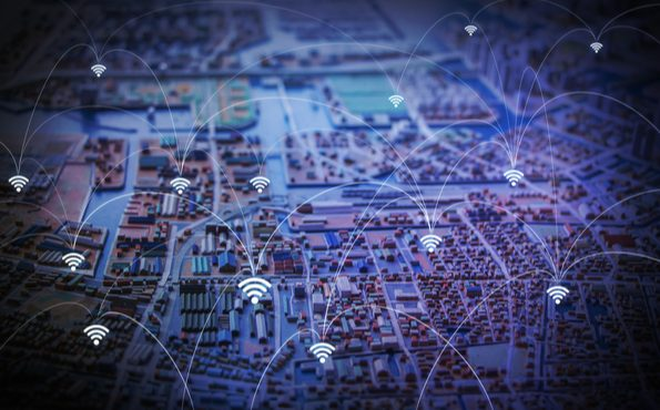 Modern city diorama and wireless sensor network
