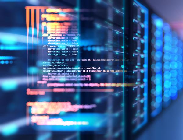 Server room with programming data design