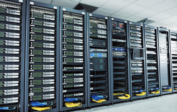 Room of Data centre cable servers